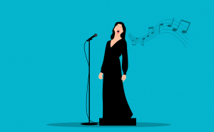 Female soloist with microphone and musical notation